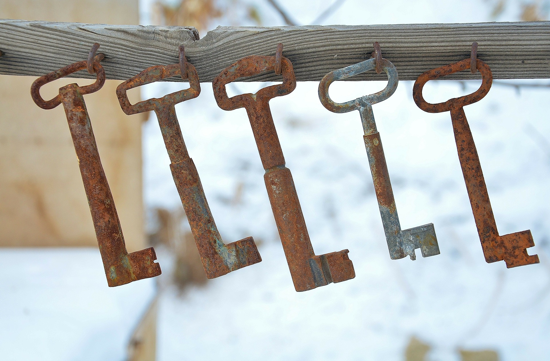 Photo of keys hanging in a row / by GLady/ Pixabay