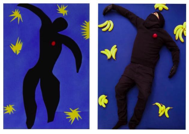 """Neil Spa: My recreation of """"Icarus"""" by Henri Matisse - with a plum, bananas and lemons. #gettymuseumchallenge"""