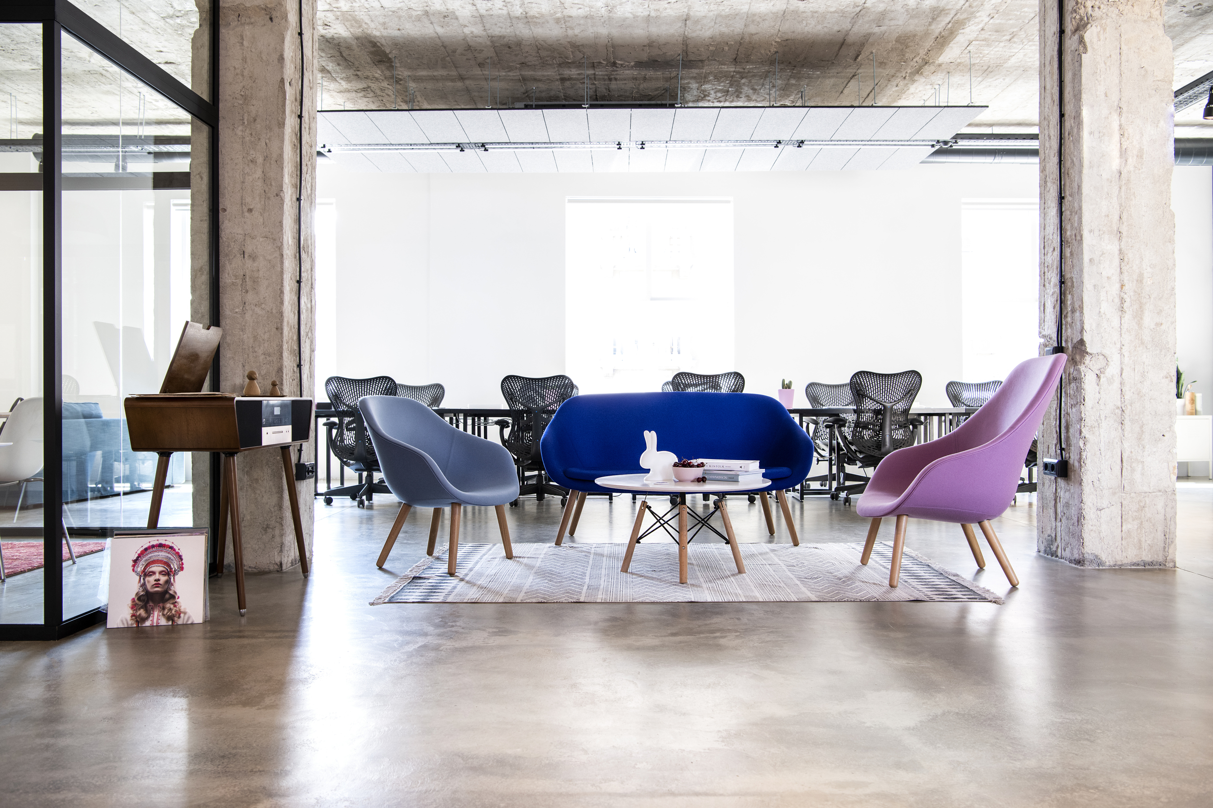 Cosy seating area at Despark agency headquarters, Sofia
