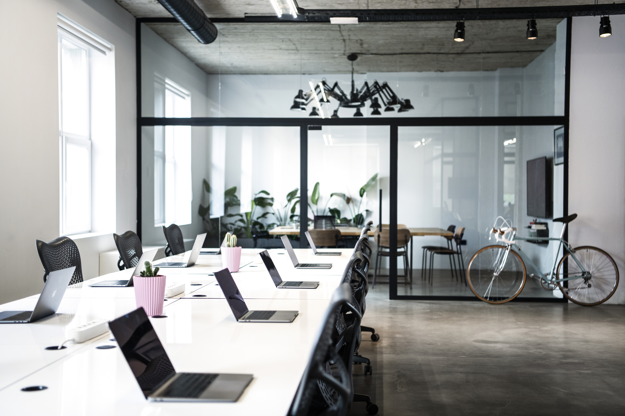 Working area with conference room at Despark agency headquarters, Sofia