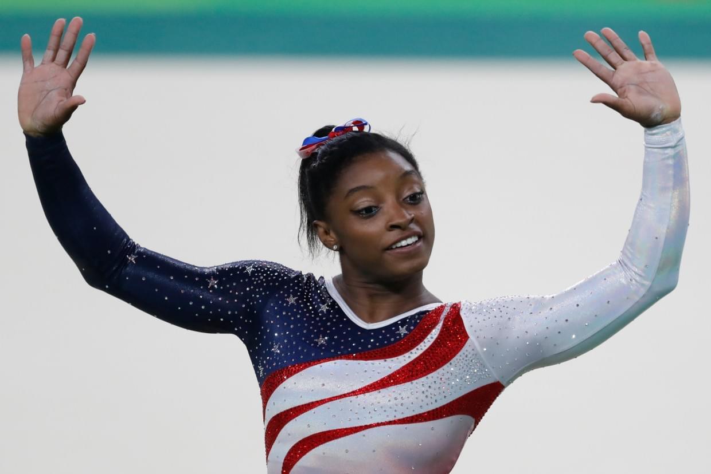 Simone Biles during the women's artistic gymnastics team final at the 2016 Summer Olympics in Rio de Janeiro, Brazil.