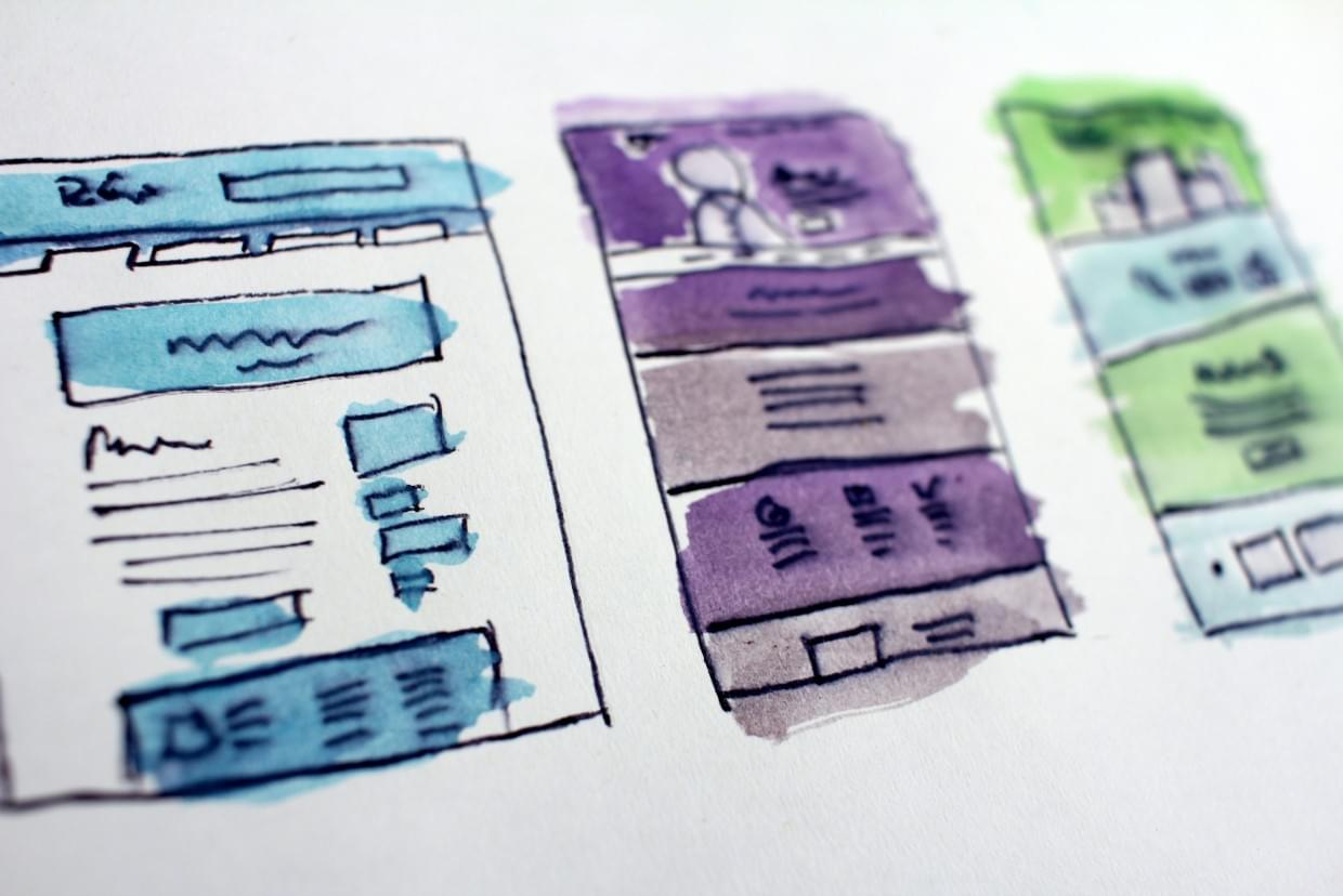 hand-drawn UX prototypes with water dyes
